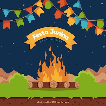 Party background with bonfire and garlands