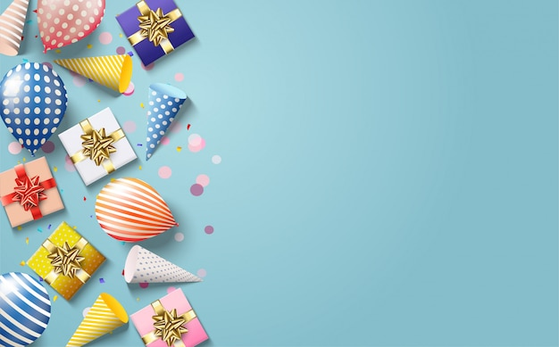 Party background with colorful balloon illustrations, birthday hats and 3d gift boxes.