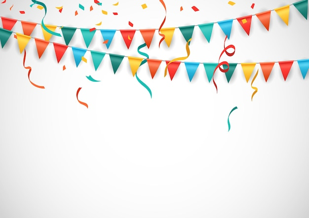 Party background with colorful flags and confetti isolated white background vector illustration