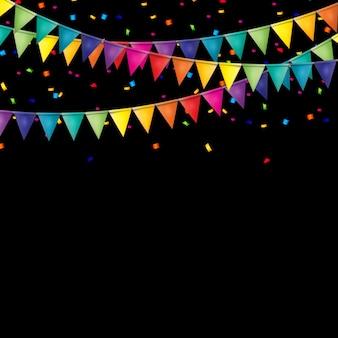 フラグと紙吹雪とパーティーの背景。
