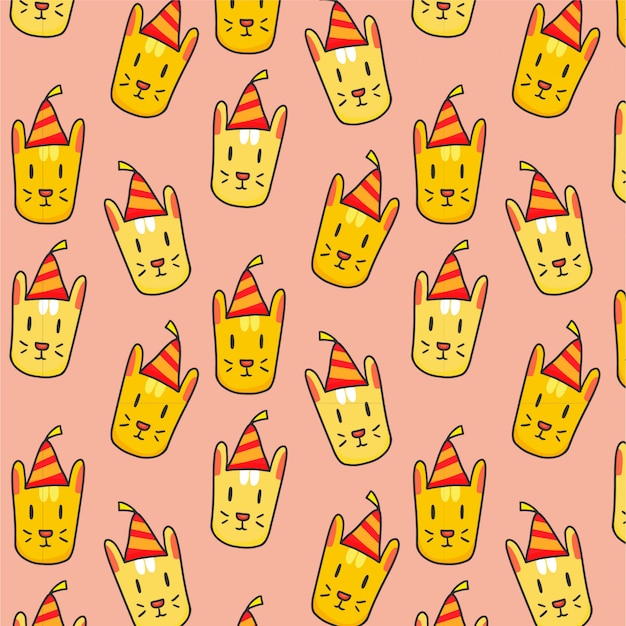 Party background with hand drawn cats
