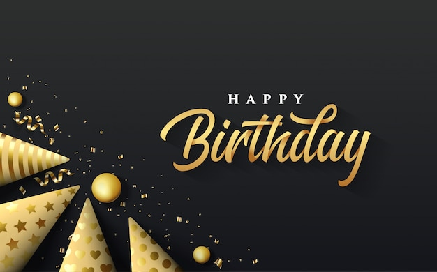 Party background with an illustration of a golden birthday hat on the lower left side writing happy birthday in gold.