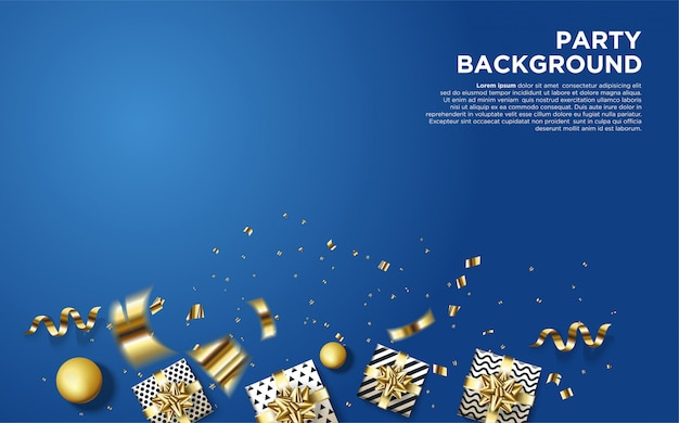 Party background with illustrations of some 3d gift boxes