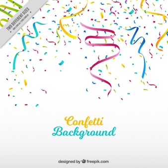 Party background with streamer and colored confetti