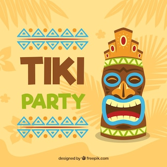 Party background with tiki mask