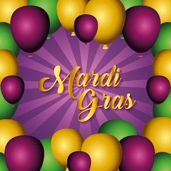 Party balloons for mardi gras decoration