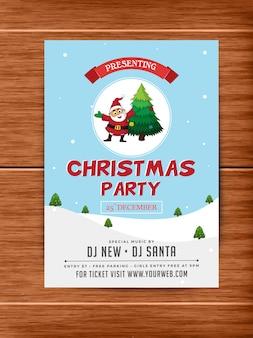Party banner or flyer design for christmas celebrations.