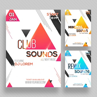 Party banner or flyer with three color concepts.