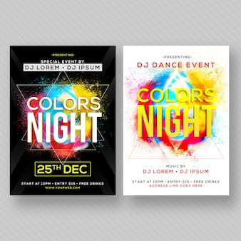 Party banner or flyer with two color concepts.