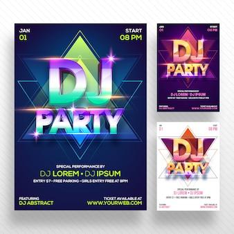 Party banner или flyer с тремя концепциями цвета.