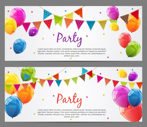 Party banner set with flags and balloons