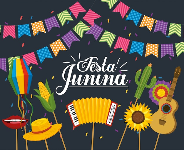 Party banner with festa junina party