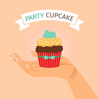 Party banner with hand holding cupcake