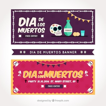 Party banners in flat style for the day of the dead