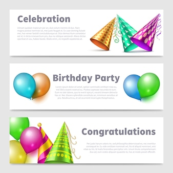 Party banners template realistic party hats