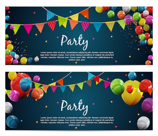 Party birthday background baner with flags and balloon