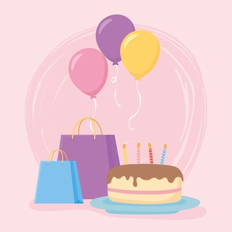 Party birthday cake gifts and balloons decoration