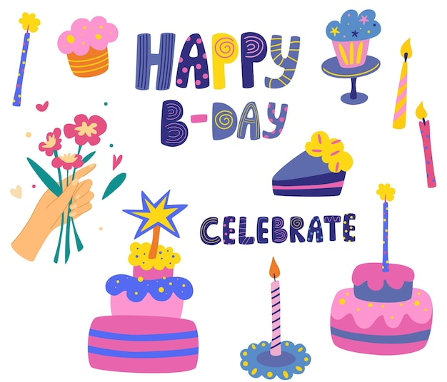 Party and birthday decorative items flowers cakes candles pancakes and lettering
