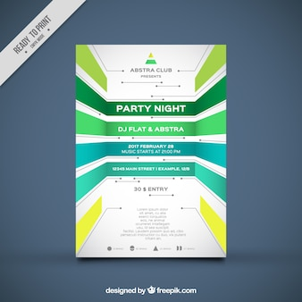 Party brochure template with geometric forms