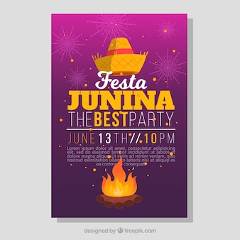 Party brochure with bonfire and hat