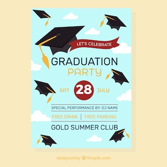 Party brochure with graduation caps