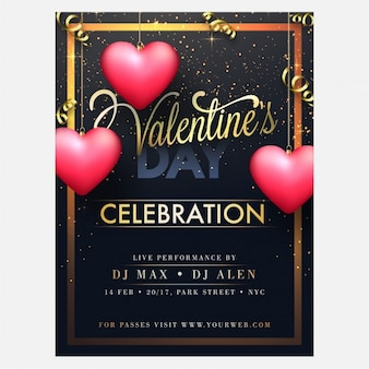 Party brochure with hearts hanging for valentine's day