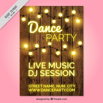 Party brochure with string lights
