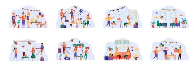 Праздничный набор сцен с персонажами плоских людей