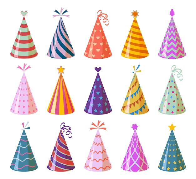 Party caps. colorful cartoon birthday and carnival paper hats, anniversary and christmas holiday decoration elements  children funny festival cone set