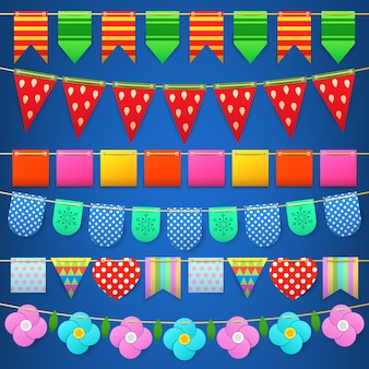 Party celebration colorful flags collection for decoration.