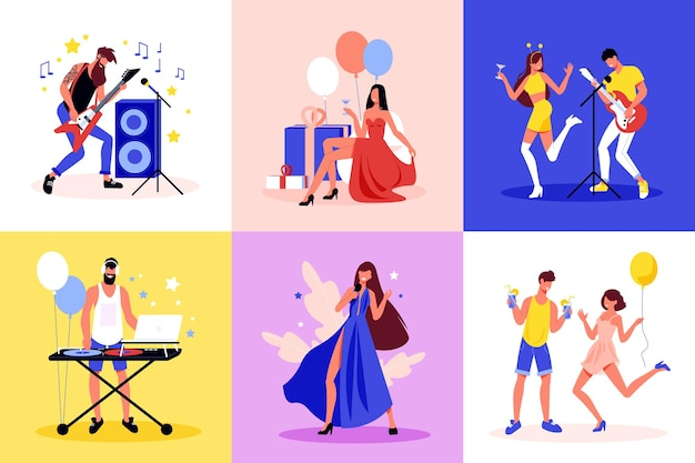 パーティーのお祝いのコンセプトエレキギターを弾いて踊る風船の装飾を歌う6つのフラットでカラフルな構成