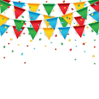 Party celebration flag on white background