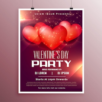 Party celebration flyer for valentines day