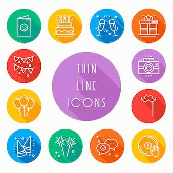 Party celebration icons set