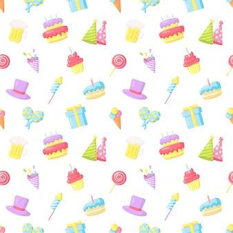Party celebration seamless pattern birthday carnival festive items on white background