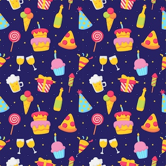 青い背景の上のパーティーのお祝いのシームレスなパターンの誕生日アイコンカーニバルのお祭りアイテム