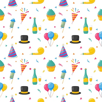 Party celebration seamless pattern. birthday icons. carnival festive items. vector illustration.