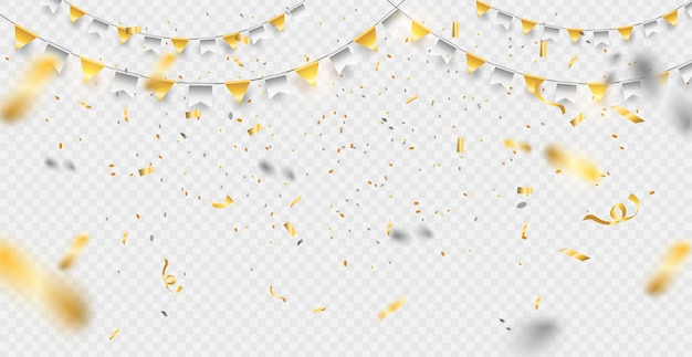 Party, celebration or special birthday background with golden shiny glitters or ribbon falling in gradient background.
