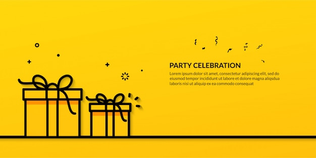 Party celebration with outline illustration of gift box