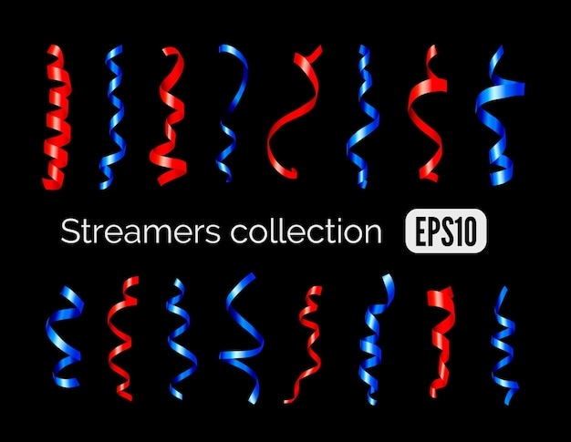 Party collection of shiny decoration red streamers and blue curling party ribbons isolated on black background