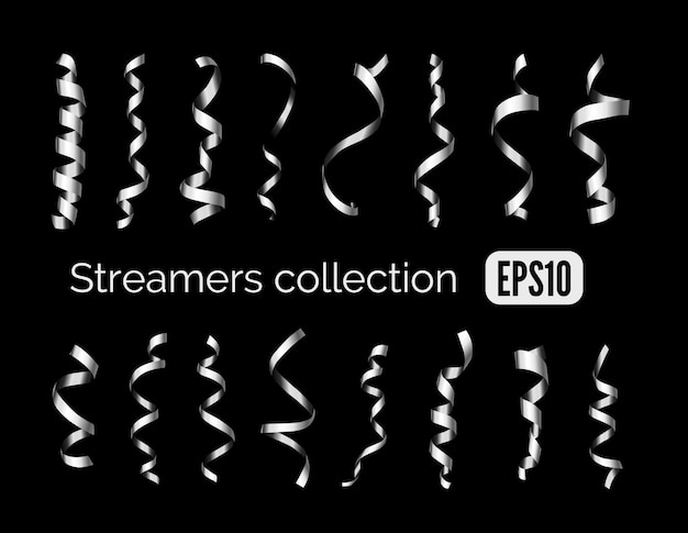 Party collection of shiny silver decoration streamers and steel curling party ribbons isolated on black background
