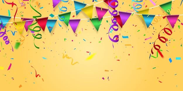Цвет партии, конфетти концепции шаблона праздника