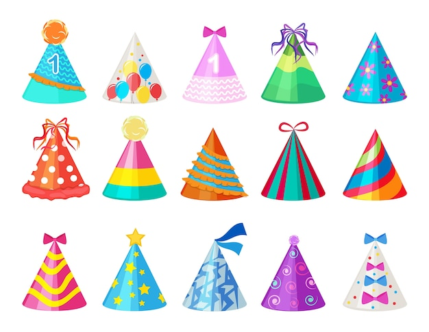 Party colored caps. birthday cone hat for carnival pictures isolated. celebration cap accessory paper to birthday and carnival illustration