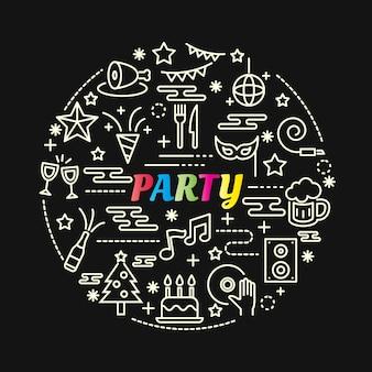 라인 아이콘 세트 파티 화려한 그라데이션