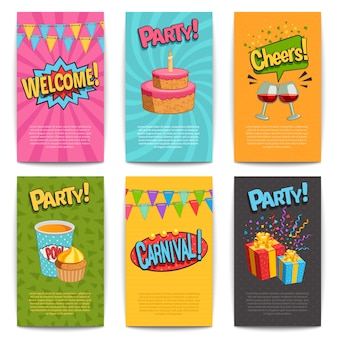 Party comic posters set with fun symbols flat isolated vector illustartion