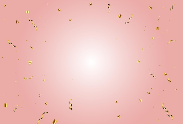 Party confetti and gold ribbon holiday background. vector illustration eps10
