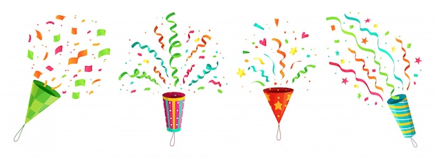 Party confetti popper. exploding birthday celebration confetti poppers and flying congratulations ribbons cartoon  set