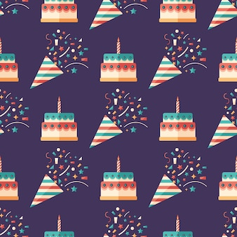 Party crackers and cakes flat art seamless pattern.