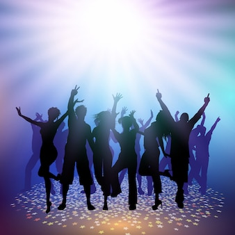 Party crowd on a spotlight background