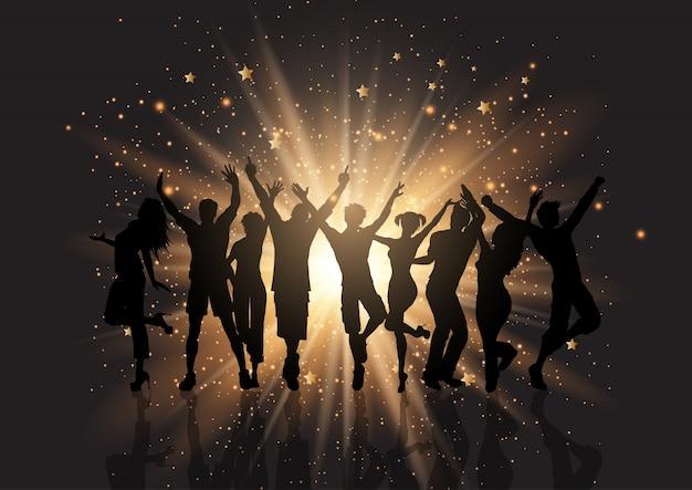 Партия толпы на фоне звезд